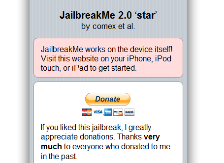 JailbreakMe: Web-based Jailbreak for iPhone