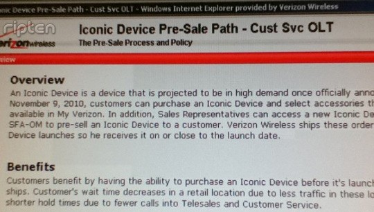 Verizon iPhone To Be Announced on Nov. 9th?