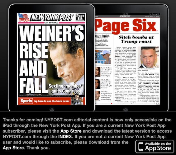 NY Post Forces iPad Users to Subscribe