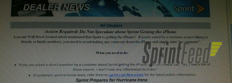 Sprint Encourages Employees To Stay Mum On iPhone 5
