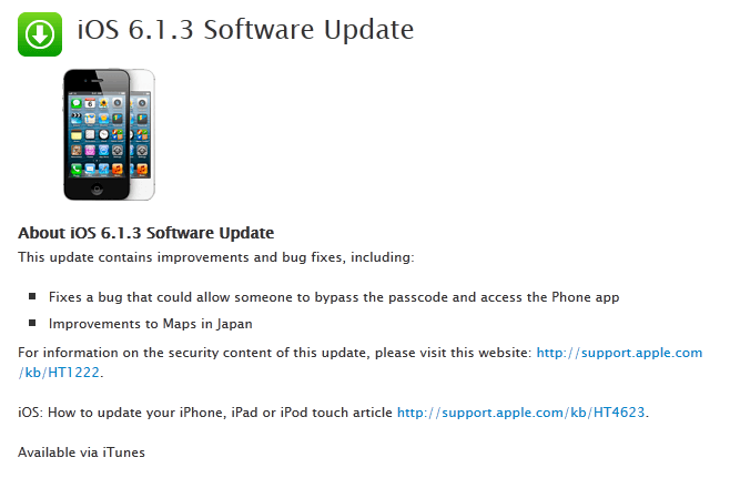 iOS 6.1.3 Fixes Password Issue & Kills Jailbreak, CubeSensors for iPhone