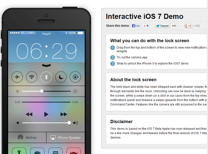iOS 7 Running on iPad, Try iOS 7 Demo Today