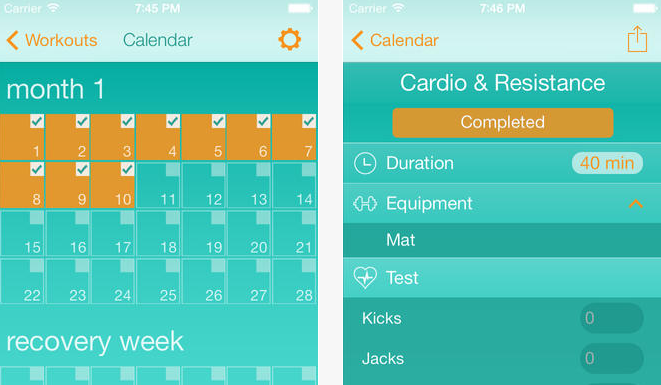 Workout Calendar App : Ios apps for insanity workout