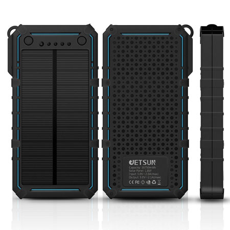 JETSUN Solar Charger  a power bank with a 16750mAh battery and solar charger  for your phone. It also has LED lights and 2 USB ports to charge 2 devices  at ... e15cb69102f8