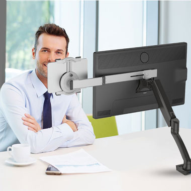Loctek-D5U+X1-Desk-Mount-with-Tablet-Holder