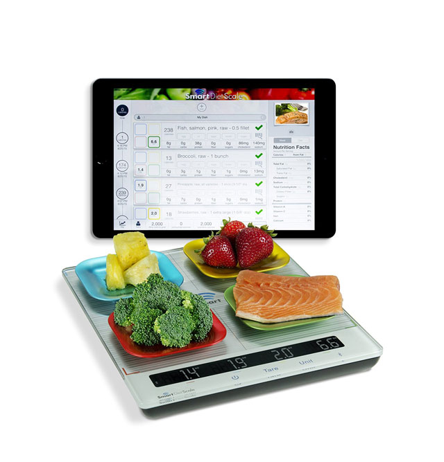 Smart diet scale with app weigh 4 items at once for Ipad kitchen scale
