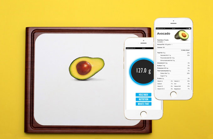 Nutrifello smart cutting board with scale app iphoneness for Kitchen scale with app