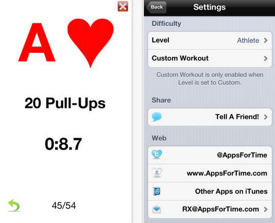It Has A Built In List Of Common Exercises For You To Choose From Its Deck Rep Multipliers Give More Intense Workouts